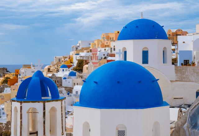 construções azuis Santorini grécia